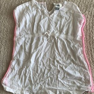 Girls Old Navy pink and white swim coverup Size 3T